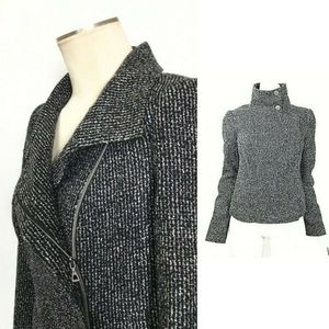 🎩 Zipper Black Tweed Knit Moto Jacket Women Small